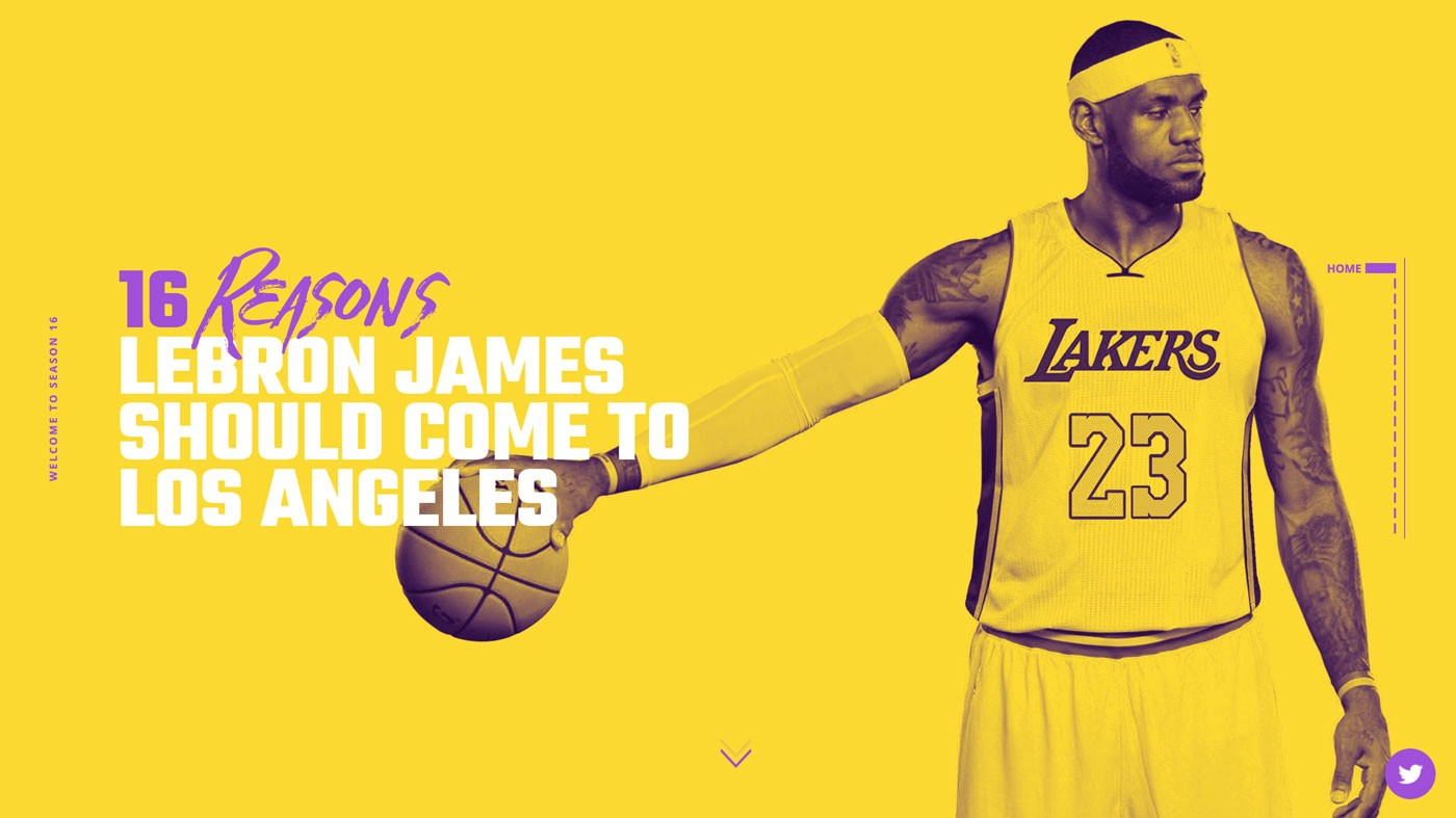 Yellow and Purple Lebron James Lakers Hero Image